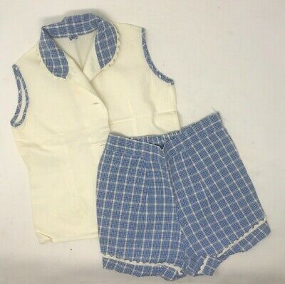 Vintage 1940s Girls 2 Piece Striped Outfit Sleeveless Shirt & Shorts Blue AS IS