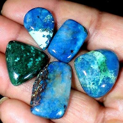 Azurite 110.90 Cts Natural Mix Cabochon ~5 PCs Bulk Lot~ Untreated Gemstones