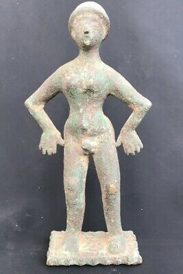 Excavated Antique Old Roman Greek Empire Naked Man Statue on position Sculpture