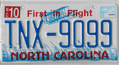 2005 Blue Letter North Carolina License Plate  # Tnx 9099  Aviation