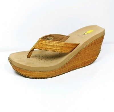 a5bb2bc915741 Volatile Wicker basket weave Wedge Heels Thong Flip Flop Sandals womens  size 10