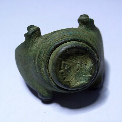 Roman Ancient Artifact Bronze Legionary Ring With Warrior