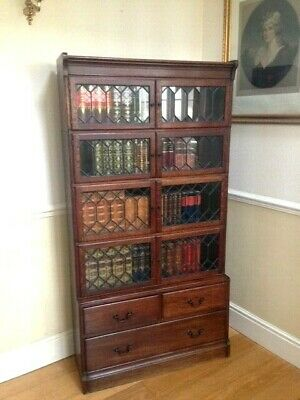 Superb Oak Minty Glazed Library Barrister Bookcase Circa 1920