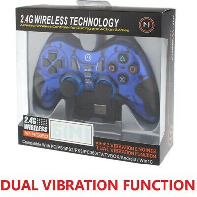 6in1 Wireless Vibration Gaming USB Controller TV PS2 PS3 PC Race Action 2.4 GHz