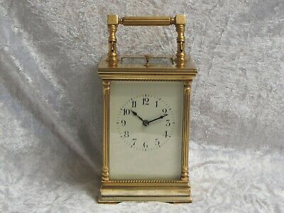 Antique French 8 Day Striking Repeater Carriage Clock With Architectural Design