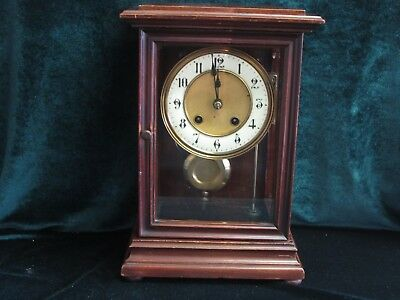 ANTIQUE  3 GLASS BRASS INLAID CHIMING MANTLE CLOCK c1900