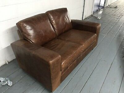 Outstanding Next Tan Chestnut Brown Retro Antiqued Aged Leather 2 Seater Pdpeps Interior Chair Design Pdpepsorg