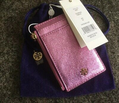 66ef34c2edbe TORY BURCH PINK Crinkle Metallic Zip Card Case Nwt -  69.00