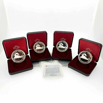 1986 Canada Proof Silver Dollar Vancouver Centennial Train-4 Coins-Free Ship US