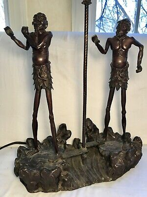 Exceptional Japanese Meiji Period Bronze Figural Lamp, Elongated Musicians