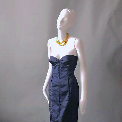f5fecf1c8a7 Midnight Blue Satin Strapless Pinup Bombshell Cocktail Dress HEIDI WEISEL sz  6