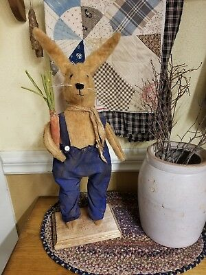 Primitive Bunny Rabbit On Wood Base