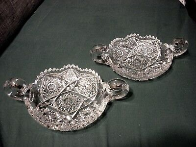 2 American Brilliant Period Cut Glass ABP 2 Handled Nappy Nut Candy Dish Dishes