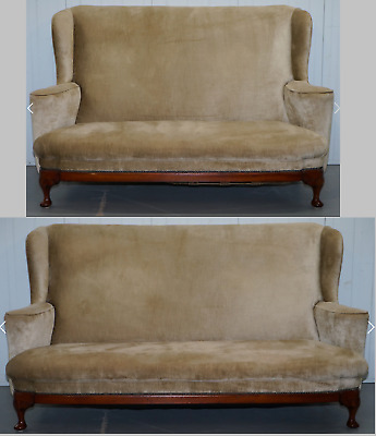 Matching Pair Of George I Style Settees Victorian Made Walnut Mahogany Frame