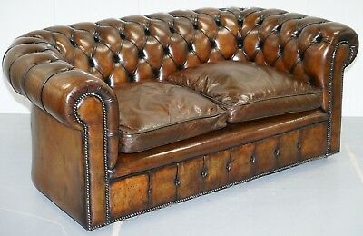 1930's Made In England Hand Dyed Restored Cigar Brown 2 Seat Chesterfield Club