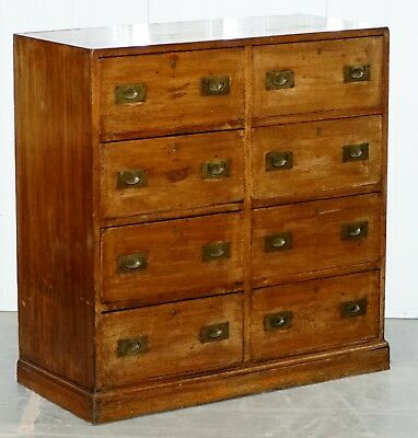 Hobbs & Co 19Th Century Military Campaign Mahogany Sideboard Chest Of Drawers