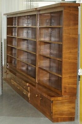 Enormous Mid Century Modern 500Cm Wide Walnut Bookcase With Drawers & Cupboards