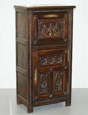 Lovely Early Victorian Hand Carved Tall Cabinet For Documents & Storage Jacobean