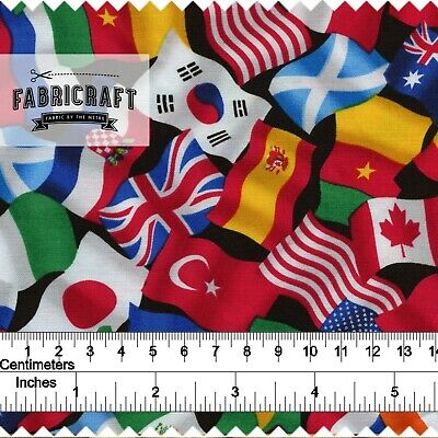 World Flags - 1 metre  100% cotton fabric - by Timeless Treasures