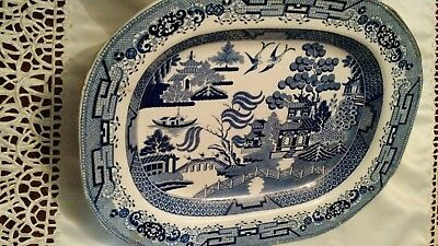 Antique Blue Willow Large Platter  17 1/2  x 14 in.