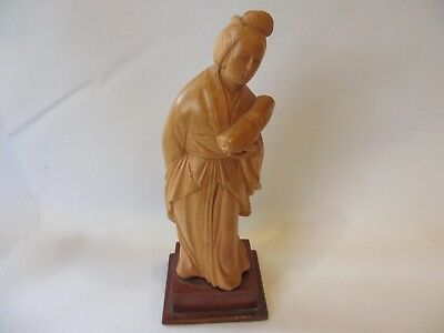 WONDERFUL ANTIQUE Chinese CARVED BOXWOOD WOMAN Figure   HALLMARKED
