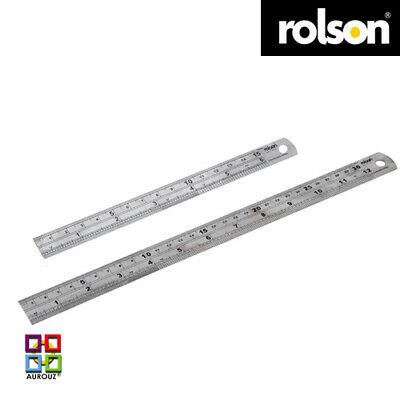 """6"""" /15cm & 12""""/30cm Stainless Steel Ruler Metric/Imperial Scale- Rolson ®"""