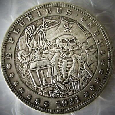 Hobo 1921 Morgan Dollar With Pirate Captains Coin Skull Design Funny Coins HB16
