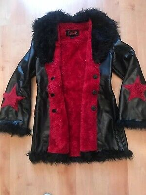 3e0e5b70f6 TRIPP NYC faux leather FUR black STAR jacket coat GOTH punk HOT TOPIC XL  vintage