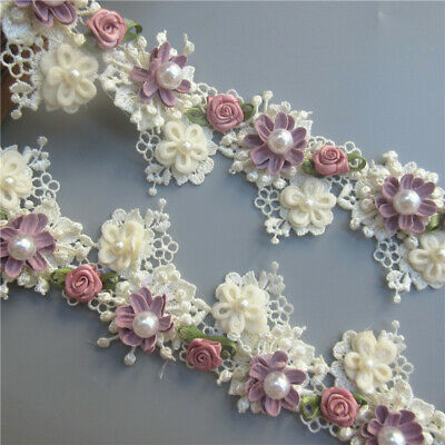 5X Apricot Flower Pearl Rose Lace Edge Trim Ribbon Wedding Applique Sewing Craft