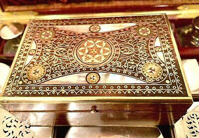 Rare, Small Brass & Mother Of Pearl Ottoman Or Anglo Indian  Trinket Box, C.1880