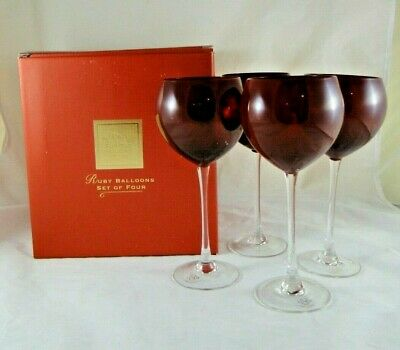 Set Of 4 Lenox Holiday Red Ruby Balloon Wine Glasses Clear Stem