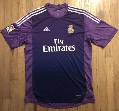 Real Madrid Fly Emirates Purple Adidas Jersey Size XL Climacool Stitched  Patches db4ec2da07