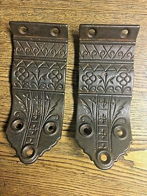 Pair Antique Ornate Cast Iron Flat Hand Rail Stair Brackets, late 1800's