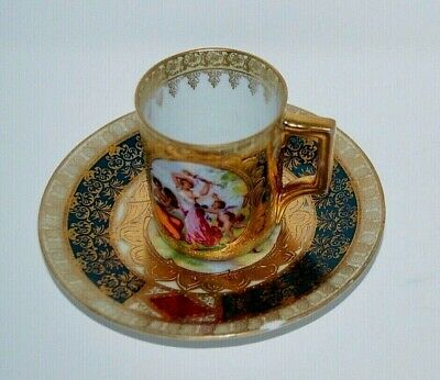 RARE 19th Century ROYAL VIENNA CUP & SAUCER Porcelain Classical Grecians Gold #C