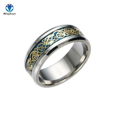 Vintage Gold Dragon 316L Stainless Steel Mens Lord Wedding Ring  Band For Lovers