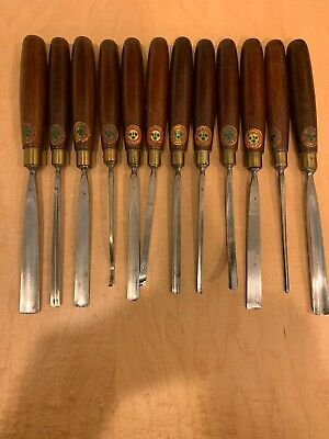 Vtg.Set Of 12 William Marples & Son Woodcarving Chisel Set Inscribe Name & Decal