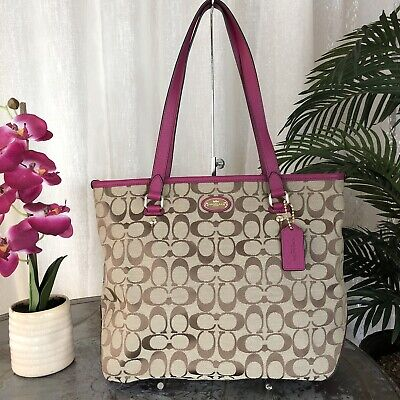 db8d83128a5d COACH F36375 12CM Signature Zip Top Tote Khaki Cranberry -  109.00 ...