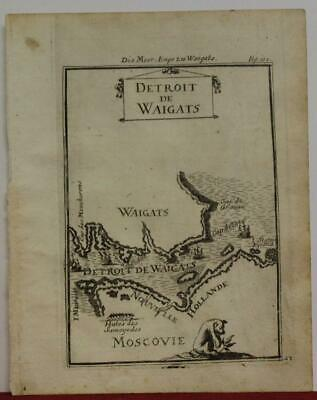 Yugorsky Strait Russia 1719 Alain Manesson Mallet Antique Copper Engraved Map