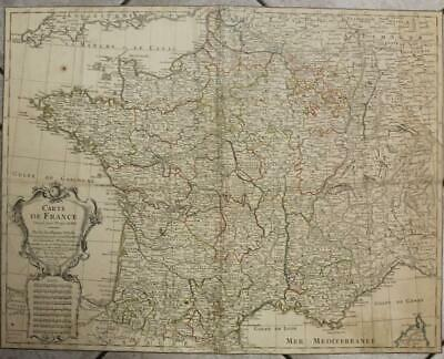 France French Kingdom 1781 De L'isle & Buache Antique Copper Engraved Map