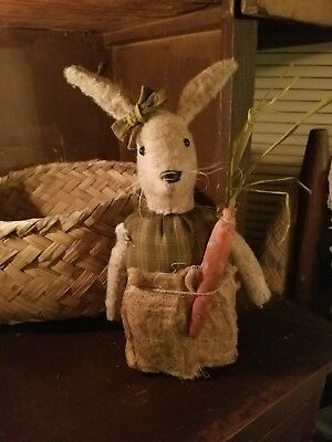 Primitive Bunny Rabbit Stump Doll with carrot