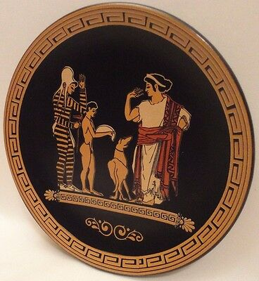 Ancient Lady Receives Gift Offer from Soldier Ancient Greek Art Pottery Plate