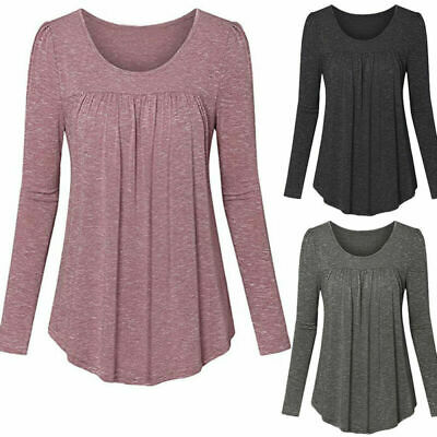 Long Sleeve Loose Women's Casual Neck Baggy Boat Blouse Tops Tunic T-Shirt