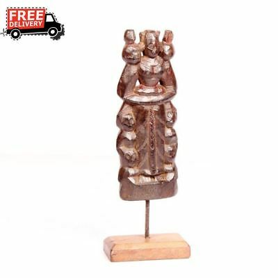 Antique Look Vintage Old Wooden Tribal Putli On Stand Rare Old Collectible 3753