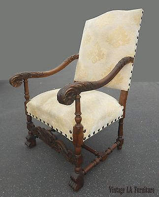 Vintage French White Ornately Carved Throne Chair w Clavos Spanish Style