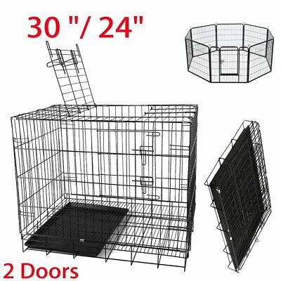 Small Medium Large Pet Dog Cage Crate Foldable Carry Transport Carrier Cages UK