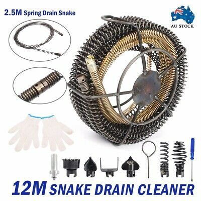 Plumber Drain Pipeline Sewer Cleaner 12M 6 Drill Bit for Snake Pipe Drill Kit