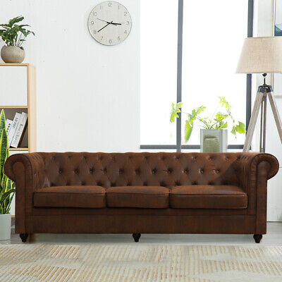 Chesterfield Sofa 3 2 Seater Armchair Antique Distressed Leather Settee Couch UK