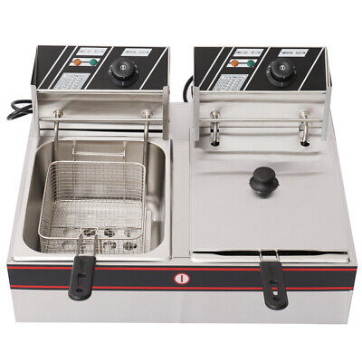 Stainless Steel Commercial Electric Fryer 5KW 12L Dual Tank Deep Fat Chip Fryer