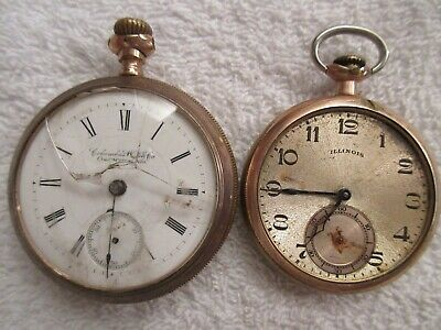 vintage Columbus Watch Co & Illinois pocket watches for parts lot J
