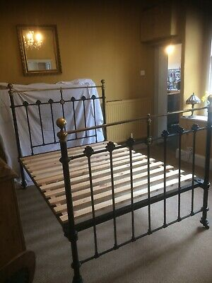 Victorian Cast Iron + Brass Double Bed on Casters